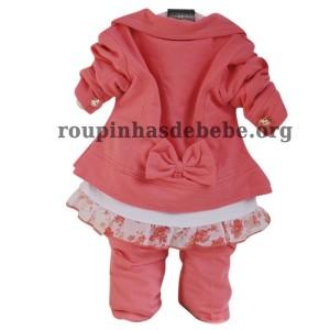 casaco infantil feminino 3 peças