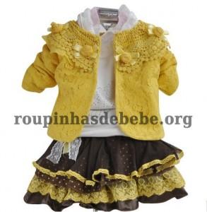 casacos infantil amarelo com saia