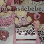 festa marrom e rosa urso com brigadeiro