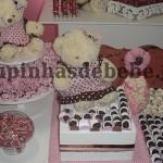 festa rosa e marrom de 1 ano com ursinhos