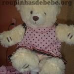 festa rosa e marrom de 1 ano com urso de pelúcia