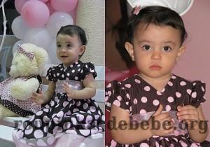 festa rosa e marrom de 1 ano Giovanna com vestido de bolinhas