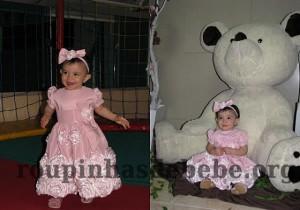 festa rosa e marrom de 1 ano Giovanna com vestido de flores