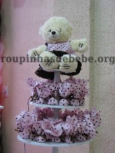festa marrom e rosa urso lembrancinhas