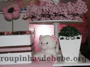 festa marrom e rosa urso filhote