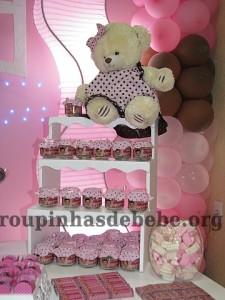 festa marrom e rosa urso potinhos com bala