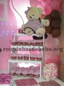 festa rosa e marrom de 1 ano ursinho com lembrancinhas