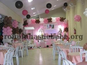 ambiente da festa marrom e rosa infantil