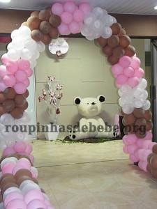 festa marrom e rosa urso recepção