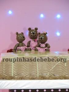 festa marrom e rosa urso de chocolate