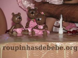 festa marrom e rosa urso para decorar