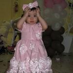festa 1 ano marrom e rosa infantil
