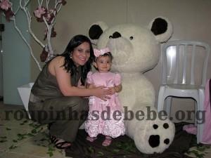 festa marrom e rosa urso mãe e Giovanna