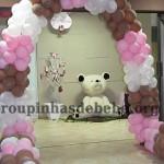 entrada na festa marrom e rosa provencal
