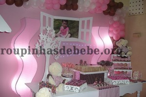 festa marrom e rosa provencal 1 aninho