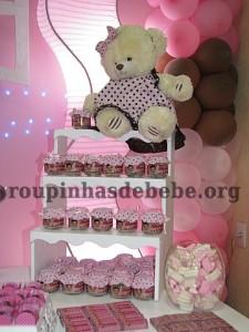 festa marrom e rosa provencal com ursinho