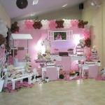 festa rosa e marrom infantil ambiente