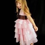 festa rosa e marrom infantil babados com faixa
