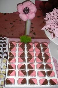 festa rosa e marrom infantil docinhos
