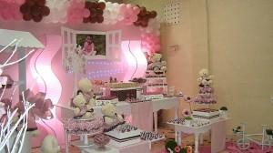 festa rosa e marrom infantil mesa do bolo