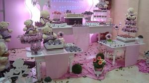 festa rosa e marrom infantil painel da festa