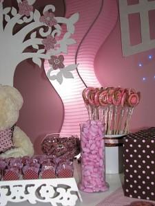 festa rosa e marrom infantil petiscos
