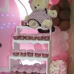 festa rosa e marrom infantil urso e jujubas