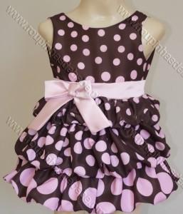 festa rosa e marrom infantil vestido