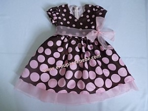 festa rosa e marrom infantil vestido bolinhas