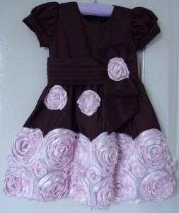 festa rosa e marrom infantil vestido flores