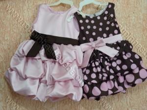 festa rosa e marrom infantil vestidos infantis