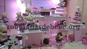 mesa da festa marrom e rosa provencal