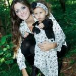 moda mae e filha floral azul