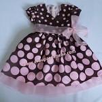Vestido Infantil Marrom e Rosa tradicional