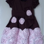 Vestido Infantil Marrom e Rosa com flores