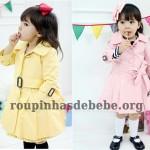sobretudo infantil amarelo e rosa feminino