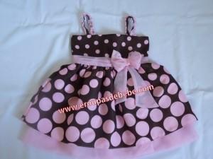 vestido infantil marrom e rosa com alcinhas