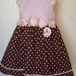 vestido rosa bebe poa marrom