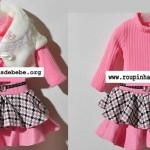 moda infantil inverno conjuntinho rosa