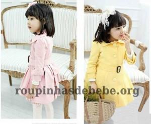 moda infantil inverno rosa e amarelo