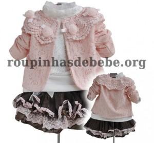 moda inverno infantil casaco rosa com saia