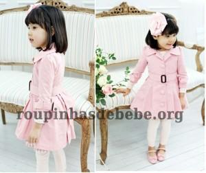 moda inverno infantil casaco rosa importado