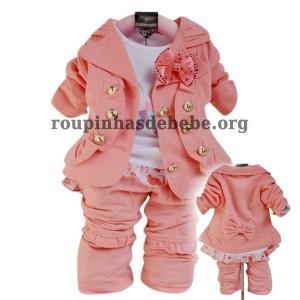 moda inverno infantil rosa bebe