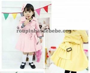 moda inverno infantil rosa e amarelo
