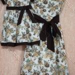 moda mae e filha floral marrom