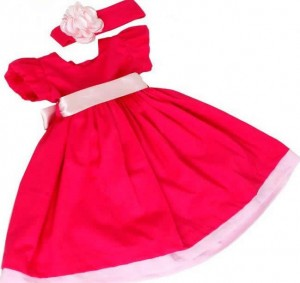 vestido de bebe vermelho com faixa