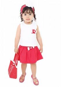 vestido de bebe vermelho conjunto