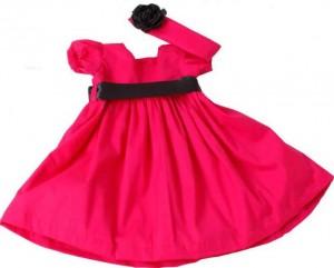 vestido de bebe vermelho e preto