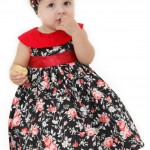 vestido de bebe vermelho floral com preto