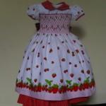 vestido de bebe vermelho moranguinho